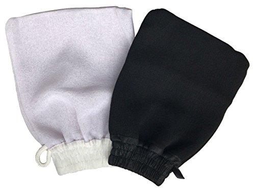 Guanto Kessa-Kessel Hammam (2 unità) Utilizzato per Ammam con Sapone Nero Esfoliante e Massaggio Corporale - Pulisce i Pori Aiutando ad Eliminare le Impurità della Pelle. 1 Guanto Duro ed 1 Morbido
