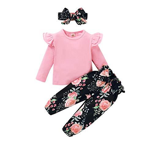 Zoerea Completo Neonato Bambina Manica Lunga Balza Lavorata a Maglia Top + Stampa Fiori Pantaloni + Fascia per Capelli Abiti 3 Pezzi Set