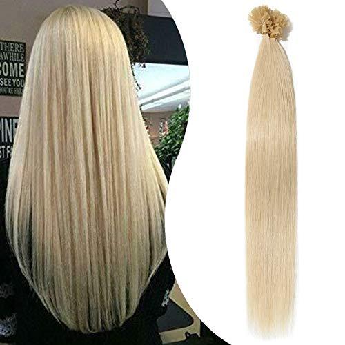 Elailite Extension Capelli Veri Cheratina 1 Grammo 50 Ciocche - 100% Remy Human Hair 50g Keratin Capelli Indiani (40cm #60 Biondo Platino)