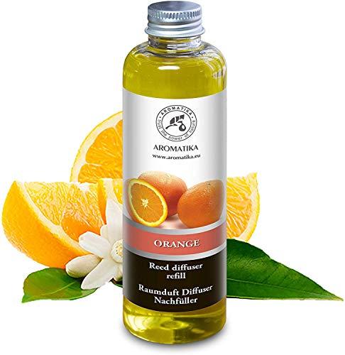 Diffusore Profumato per Ambiente di Arancio 200ml - Olio Essenziale Naturale Orange - Fragranza Naturale Intensa e Duratura - Senza Alcool - Profumo per Interni