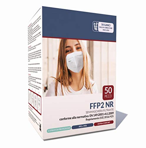 ESLH Mascherine FFP2 50 Pezzi Certificate CE 0598 EN 149:2001 + A1:2009 con 50 Ganci Salva Orecchie 5 Strati di protezione PFE ≥ 94%