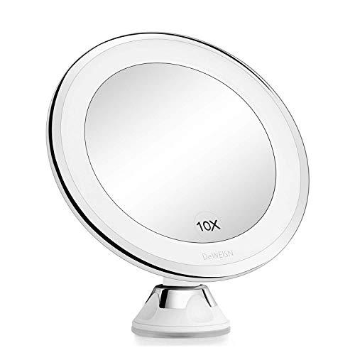 deweisn Specchio per Trucco con Ventosa -Montaggio a Parete, Ingrandimento 10X Specchio da Bagno LED Illuminato Portatile Rotazione 360 ° per Viaggio, Cosmetici e Rasatura, Batterie e USB