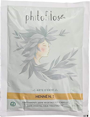 PHITOFILOS - Henné Rosso N.1 - tono dorato ramato - lawsonia inermis con cassia 100% naturali - Vegan - 100 g