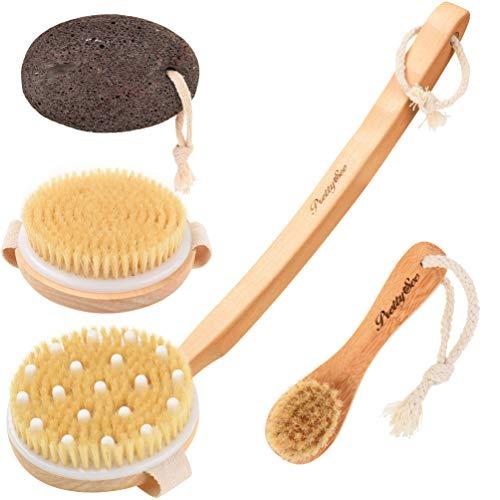 PRETTY SEE Spazzola Corpo Spazzole da bagno per spazzolatura a secco, Manico lungo in legno rimovibile + Pennello per il viso + Pietra pomice per rimuovere la pelle morta e ridurre