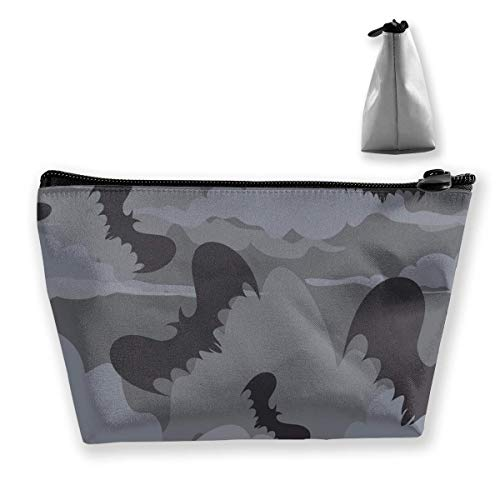 Halloween Bats Camo Waterproof Trapezoidal Bag Cosmetic Bags Makeup Bag Large Travel Toiletry Pouch Portable Storage Pencil Holders