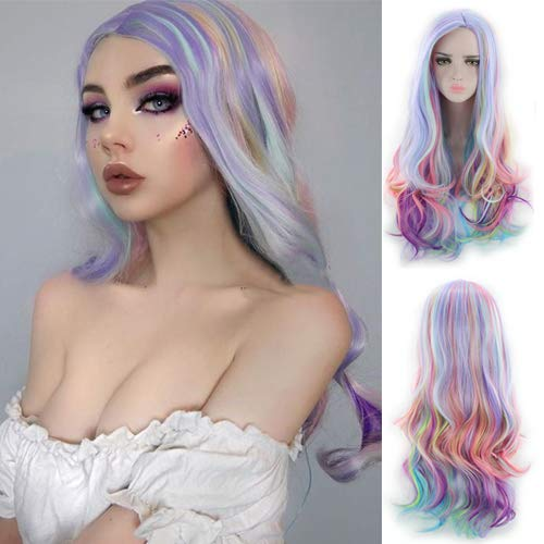 Blue Bird Long Rainbow Big Wavy ombre Cosplay parrucca sintetica resistente al calore per donne capelli colorati Halloween