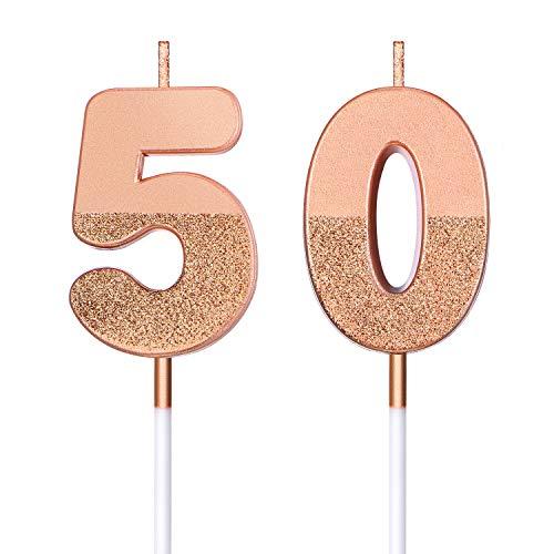 Candele di Compleanno 50 Glitter Candele di Numero per Torta Topper di Torta di Compleanno 50 Decorazione per Bomboniera di Compleanno Nozze Anniversario Matrimonio, Oro Rosa