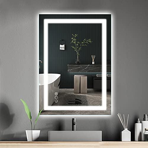 Amorho Specchio da Bagno con Controluce LED,600x800mm Rettangolare Specchio da Parete,con Interruttore Touch,antiappannamento,regolabile in 3 colori, luminosità bianco caldo e bianco freddo