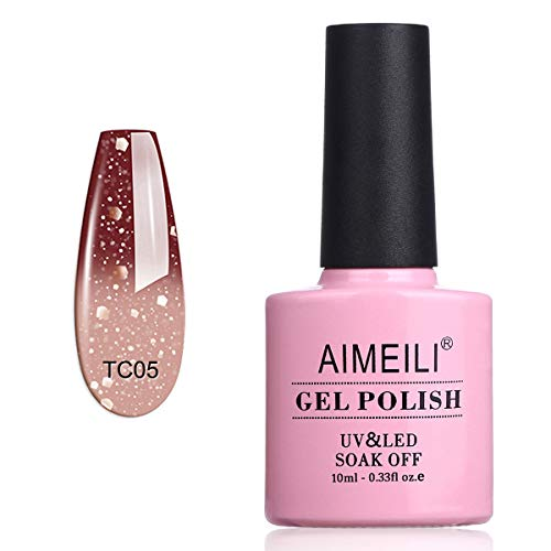 AIMEILI Smalto Semipermanente per Unghie in Gel Soak Off UV LED Smalti Gel per Unghie che Cambia Colore con la Temperatura - Chocolate Spark (TC05) 10ml