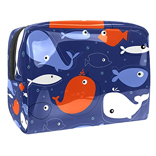 Makeup Bag for Purse PVC Travel Cosmetic Pouch Color Whale Toiletry Bag for Women Girls Gifts Portable Water-Resistant Daily Storage Organizer 7.3x3x5.1 Inch