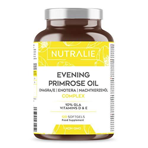 Olio di Enotera 1000mg con Vitamine D and E   10% GLA Acido Gamma-Linolenico per Donne   Contribuisce al mantenimento di Ossa e Muscoli   Senza OGM   120 Perle Nutralie