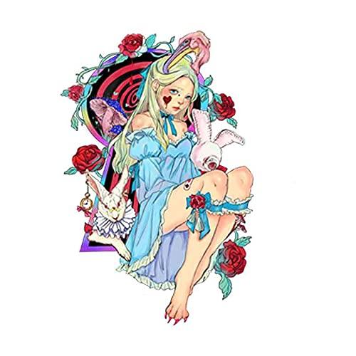 JZLMF Alice e il coniglio bianco, adesivo per tatuaggi con motivo a fiaba, colore nero, con personalità, impermeabile