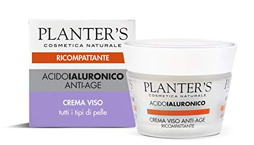 Planter's – Crema Viso Antiage Ricompattante con acido ialuronico. Perfetta per tutti i tipi di pelle, in particolare su pelle stressata e priva di tono. 50 ml