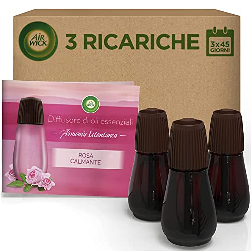 Air Wick Ricariche per Diffusore di Oli Essenziali, fragranza Rosa Calmante - Confezione da 3 Ricariche - 48 g