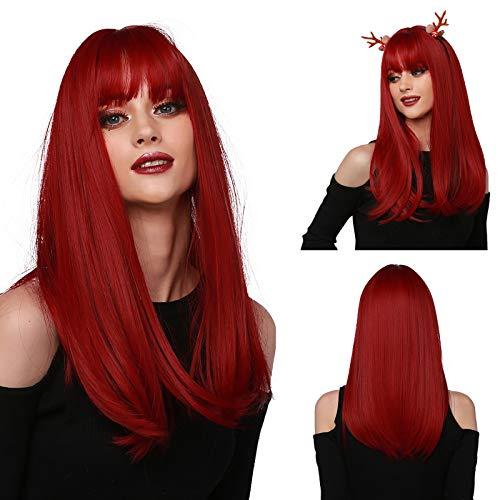 Emmor parrucca rossa lunga per donna Parrucche sintetiche diritte con capelli naturali con frangia ordinata Parrucche complete per uso quotidiano