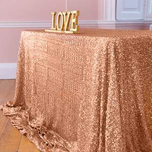 ShinyBeauty Tovaglia con paillettes-125x180 cm-Oro Rosa Tessuto con Paillettes Matrimonio Paillettes Tovaglie per tovaglie per Feste Grandi Decorazioni Gatsby