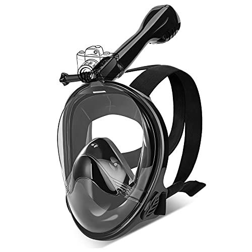 IMMEK Maschera da Snorkeling 180° Visuale Panoramica Immersioni Anti Appannamento e Infiltrazioni Maschere Mare con Supporto per Fotocamera Subacquea Adatto per Adulti e Bambini (L/XL, Nero)