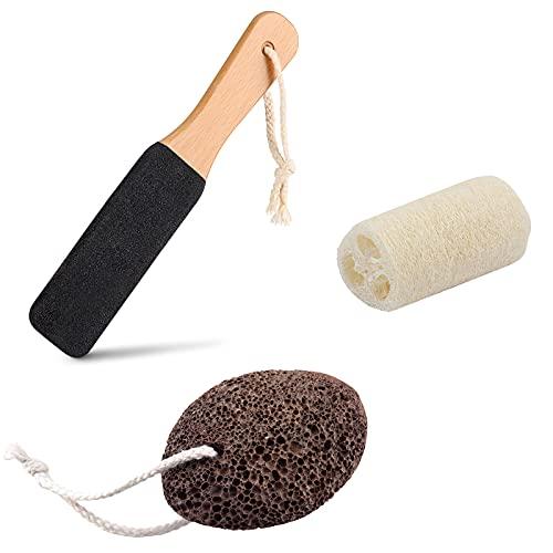 Wirhaut Lima per Pedicure Pietra pomice naturale Luffa Naturale Rimuovi la Pelle Morta e la Pelle Dura(3 PCS)
