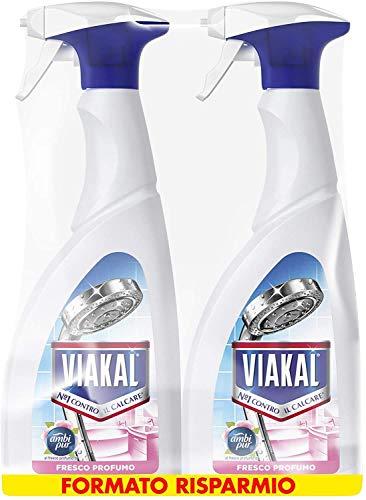 Viakal Anticalcare Detersivo Spray per Bagno, 2 bottiglie da 700 ml, Fresco Profumo Ambi Pur, Rimuove Sporco e Batteri, Azione Totale Sul Calcare, Brillantezza Duratura, Maxi Formato