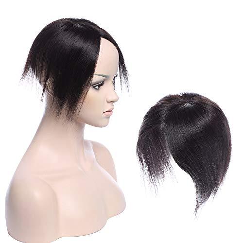 Human Hair Topper Extension Capelli Veri Remy Clip in Silk Base Toupee Fatto a Mano Fascia Unica Naturali Lisci, 30cm 1# Jet Nero