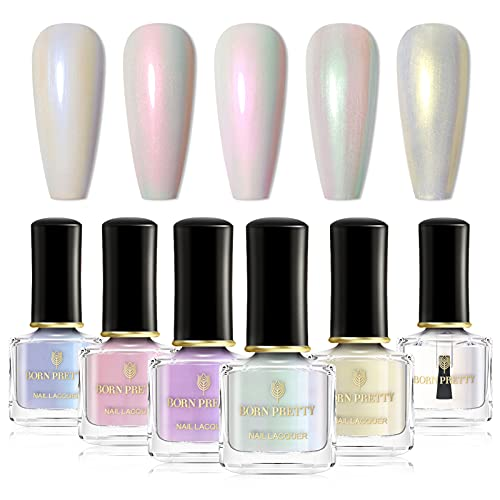 Born Pretty Nail Art Pearl Mermaid Polish Transparent Shell Glimmer Lacquer Shiny Shimmer Manicure Varnish 5 Colors