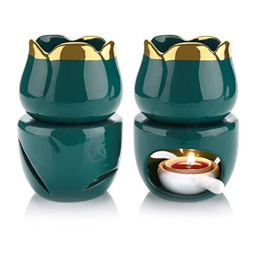 ComSaf Bruciatore Olio Essenze Ceramica, Diffusore di Oli Essenziali con Cucchiaio di Candela Set di 2, Removibile Bruciatore Candele Porcellana per Soggiorno Decorativo Ufficio Yoga Spa(Verde Scuro)