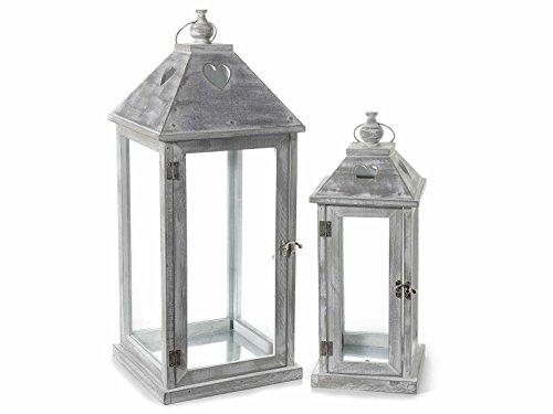 Gruppo Maruccia Lanterne Porta Candela in Legno con Intagli A Cuore in Set da Due Lanterne