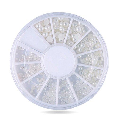 SUPVOX Perle Unghie NAI Art Cabochon di Perle Decorazioni per Unghie 200 Pezzi 2mm / 3mm (Bianco)