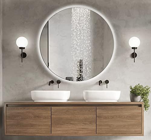 BD ART Specchio da Bagno LED LUNA 70 cm Rotondo, Specchio da Parete per Bagno con Illuminazione, Luce Bianca di Colore Freddo 6000K, IP44