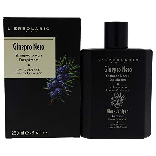 L'Erbolario, Doccia Shampoo Energizzante Ginepro Nero, Detergente per Corpo e Capelli, 250 ml