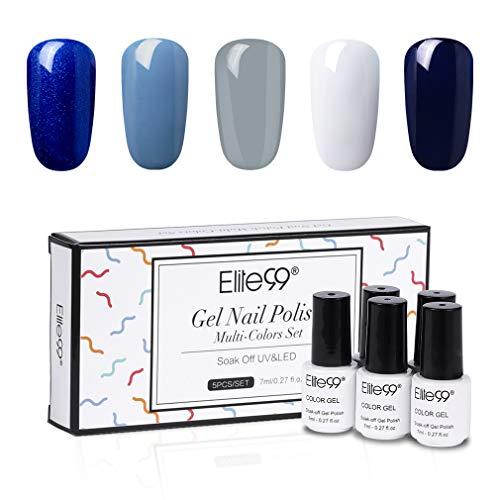 Elite99 Smalto Semipermente per Unghie Smalto Semipermanente 3 in 1 in Gel UV LED One-Step Gift Set Kit Smalti per Unghie Manicure Soak off in 5 Colores Mini Dimensioni 7ml Set 003