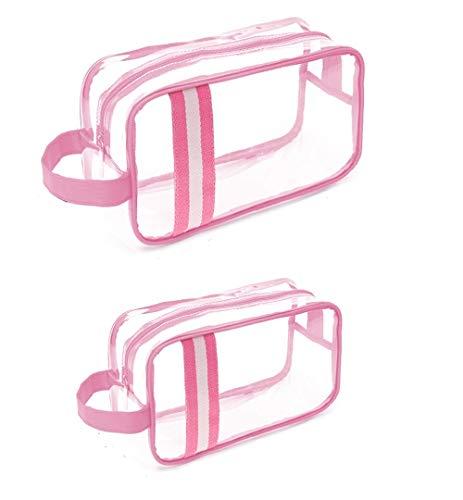 HUIDALI Portable Clear Makeup Bag Materiale TPU Borsa da toilette Zipper Impermeabile Trasparente Travel Bag da viaggio Cosmetic Toiletry Bag con maniglia (2 pezzi) (Rosa)