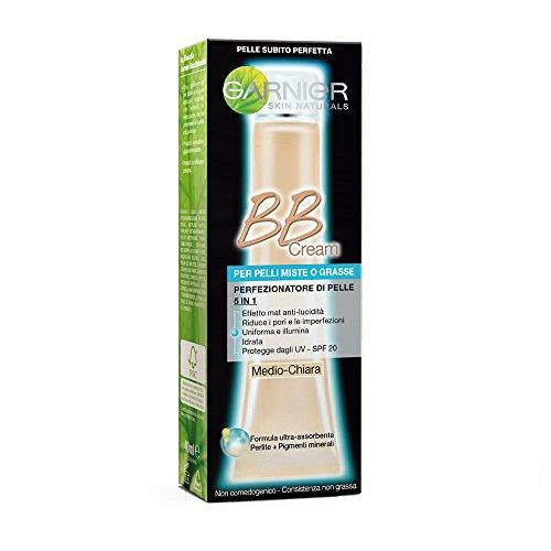 GARNIER BB Cream Anti Lucidità Crema Idratante Tutto in 1, Arricchita con Pigmenti Minerali e Perlite Assorbente, Medio-Chiara, Confezione da 1, 50 ml