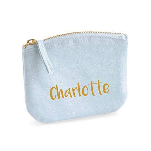 Beauty case per ragazze   personalizzabile con nome   piccola trousse per cosmetici per bambini con nome   borsetta per trucco con chiusura lampo (blu pastello)