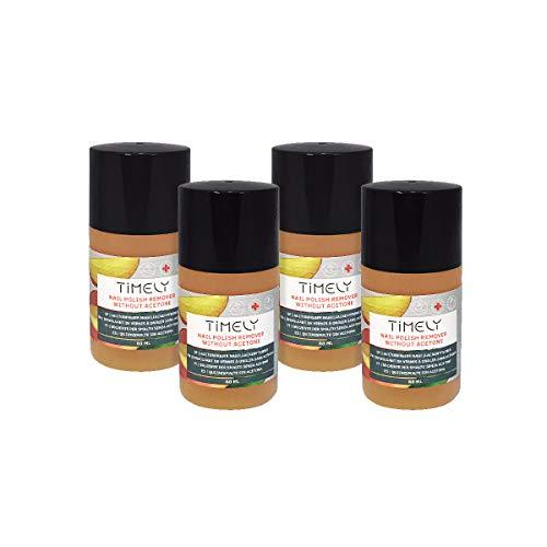 Timely, solvente per unghie senza acetone, con vitamine E e A e proteine della seta, formato piccolo, confezione da 4 x 60 ml