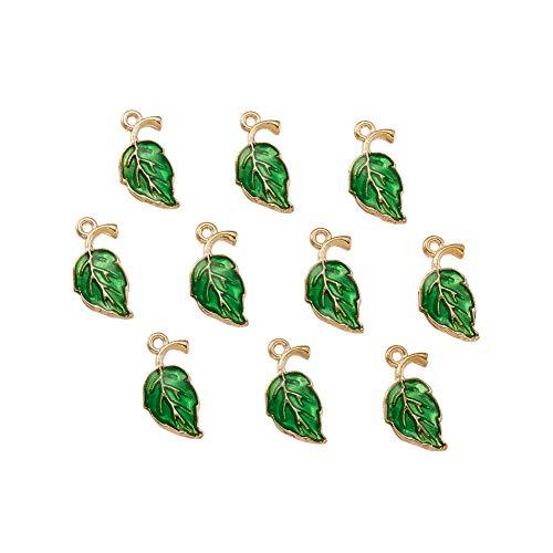 Beadthoven 10 ciondoli smaltati a forma di foglie verdi in lega placcata in oro con foglie di albero pendenti, stile hawaiano, per collane, bracciali, gioielli fai da te