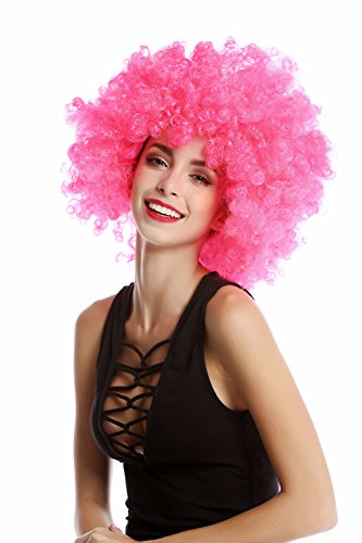 WIG ME UP - Parrucca Afro Anni 70 Parrucca Party Funk Disco Foxy Colore Rosa PW0011-PC5