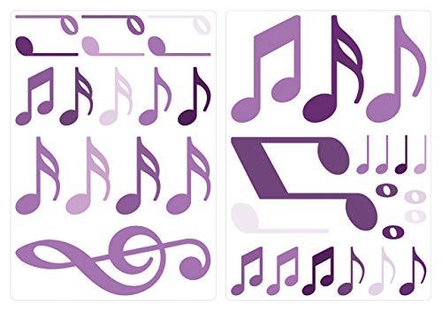 dekodino® Adesivo murale note musicali viola set di decorazione