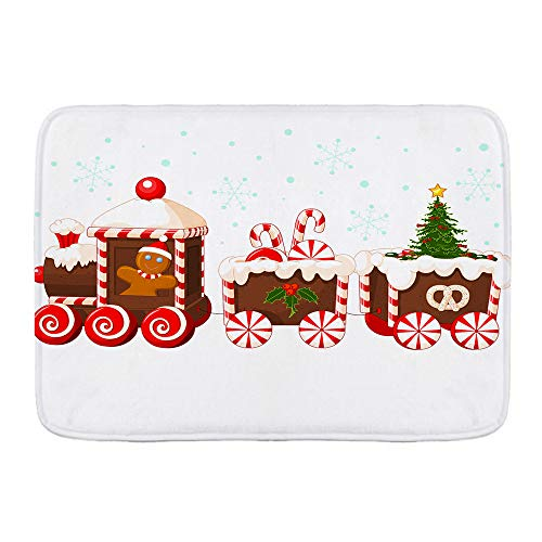 XINGAKA Tappetini da Bagno per Bagno,Treno di Natale Fatto di Pan di Zenzero e Caramelle,Tappetinida Bagno Antiscivolo con Assorbente d'Acqua,Tappetino per Pediluvio Morbido