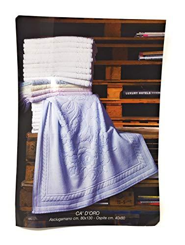 BESANA Set Asciugamani 6+6 Art. Ca d'oro in Pura Spugna idrofila Lavorazione Jacquard Misura Maxi in 6 Colori Assortiti