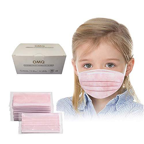 Unbr 50 Pezzi Bambini USA e Getta 3 Strati Tessuto Viso Cotone Antipolvere Visiera Bocca Faccia Adatto Stoffa (A (Rosa))