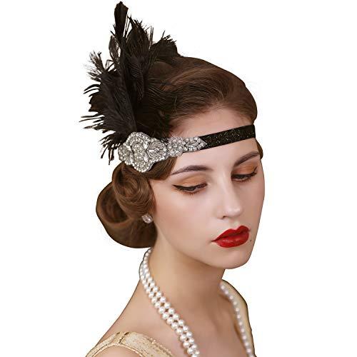 SWEETV - Accessorio per capelli a fascia, nero, anni '20, in stile Il Grande Gatsby, con strass e piume