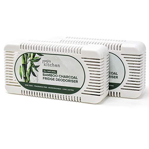 joeji's Kitchen 2 deodoranti per Frigorifero a Carbone di bambù | Set Ecologico assorbi odori odori dal frigo (2 Pezzi) | Deodorante Frigorifero in Bamboo Naturale