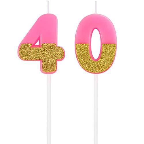 Candele di Numero 40 Candele di Compleanno Topper di Torta Candele di Torta di Buon Compleanno Decorazione di Topper Glitter per Adulti Festa di Matrimonio (Rosa)