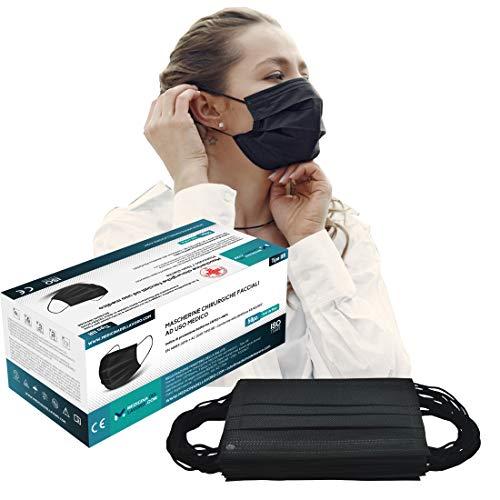 50 Mascherine Chirurgiche Colorate Nere Certificate CE per Uso Medico Tipo IIR, Alta Efficienza Filtraggio BFE≥98, Mascherina a 3 Strati, Face Mask Colorate, Maschera Facciale Protettiva Viso|50 Pezzi