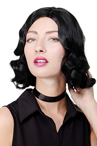 WIG ME UP - Parrucca Donna Anni 20 Swing Jazz Charleston Chicago Riga in mezzo Onde Ondulata Nero GFW1726-1B