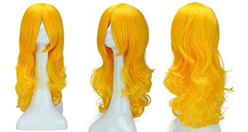 Elailite Parrucca Gialla Donna Lunga Mossa Ondulata Parrucche Sintetiche Cosplay Halloween Carnevale Wigs Women Capelli Ricci Mossi 60cm