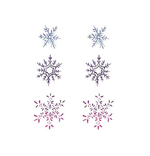 5 fogli adesivi colorati per tatuaggi temporanei con fiocchi di neve per la festa in costume cosplay