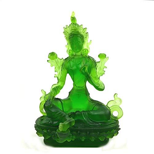 Huachaoxiang Glass Buddha Ornamento, Buddha Statue Medicina Buddha Santuario Religioso Casa Decorativa Shui Liuli Green Tara Buddha Statua,Verde