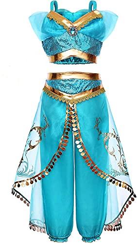 Yigoo Jasmin Costume da principessa Jasmine, vestito da bambina lucido, costume di carnevale, festa di Halloween 150